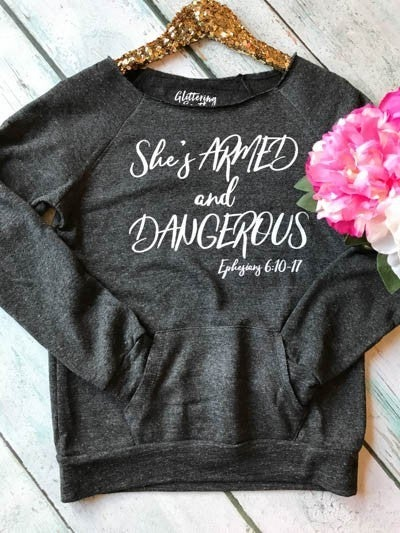She's Armed and Dangerous Scripture Off the Shoulder Charcoal Sweatshirt - Sizes 4-12