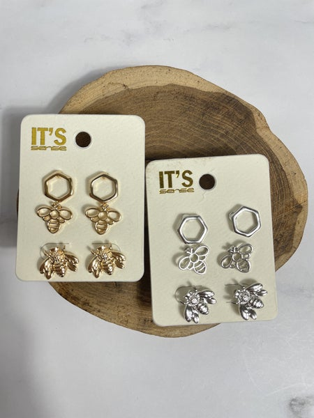 Don't Worry BEE Happy Set of 3 Earrings in Multiple Colors
