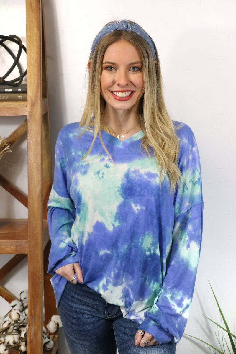 Dreamy Mint And Blue Tie Dye Soft V-Neck Sweatshirt - ***PRE-ORDER*** Sizes 4-20