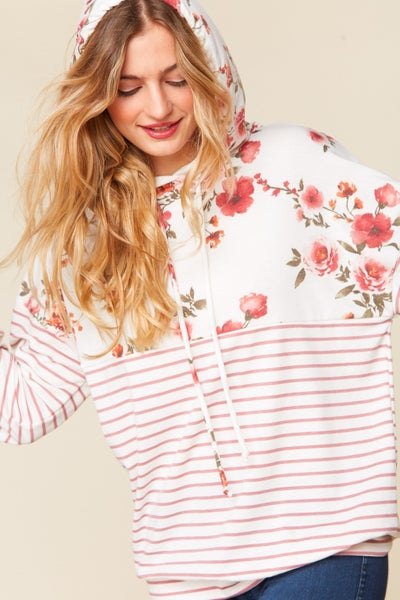 Like a Kid in a Candy Store Floral and Striped Ivory Hoodie - Sizes 4-20