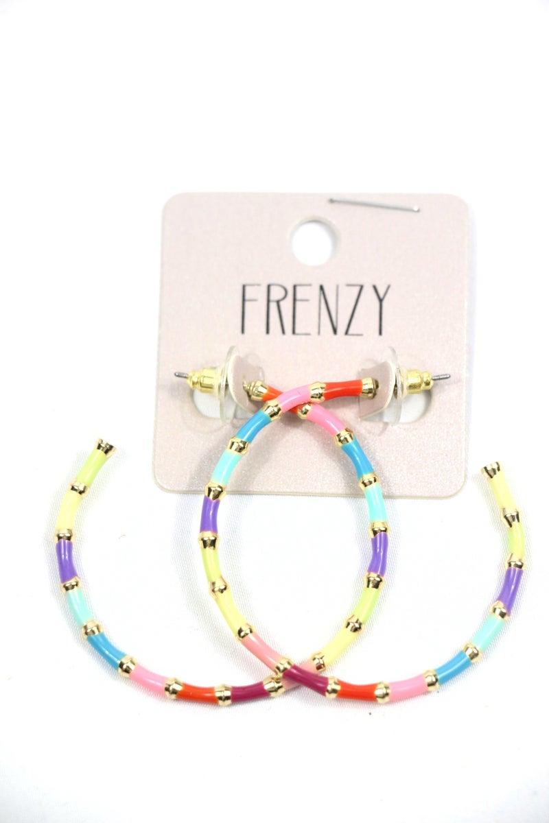 All The World Enamel Multicolored Hoop Earring