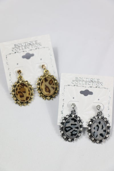 Date Night Oval Leopard Earring With Crystal Border In Multiple Colors