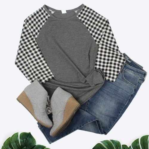 Are We There Plaid Raglan Top in Gray - Sizes 4-20