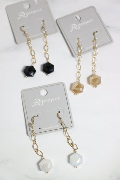 Fancy This Long Gold Link Earring With Crystal Hexagon Pendant In Multiple Colors