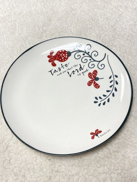 Taste and See Scripture Ivory Plate Set with Red Floral Design