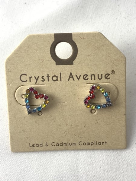 Oh My Love Multicolor Crystal Heart Stud Earring