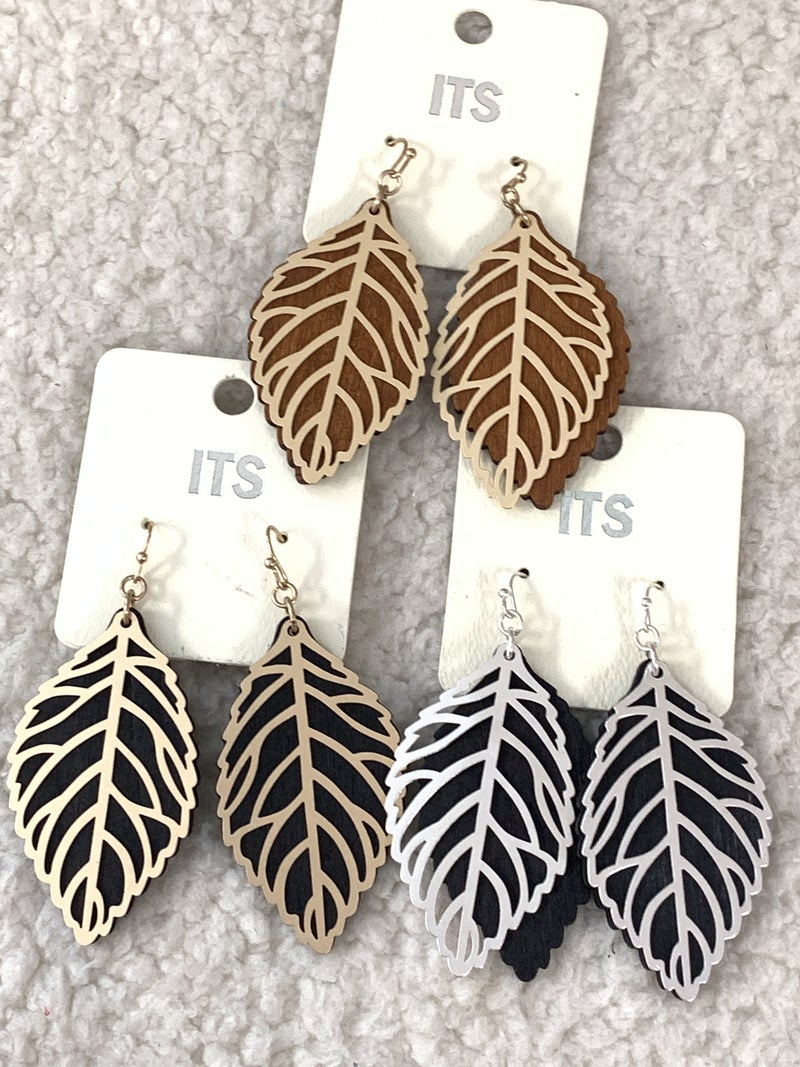 Looks Like Fall Two Layer Wood And Metal Leaf Earring In Multiple Colors