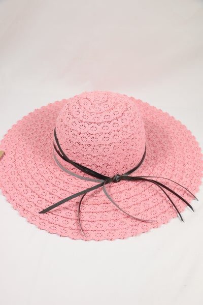 Pretty In Pink Crochet Sun Hat with Black Leather Trim