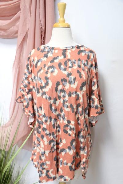Peachy Keen Leopard Print Tulip Sleeve Top- Sizes 12-20