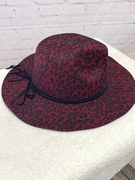 Feeling Sassy Wine Leopard Hat With Black Trim And Adjustable Band