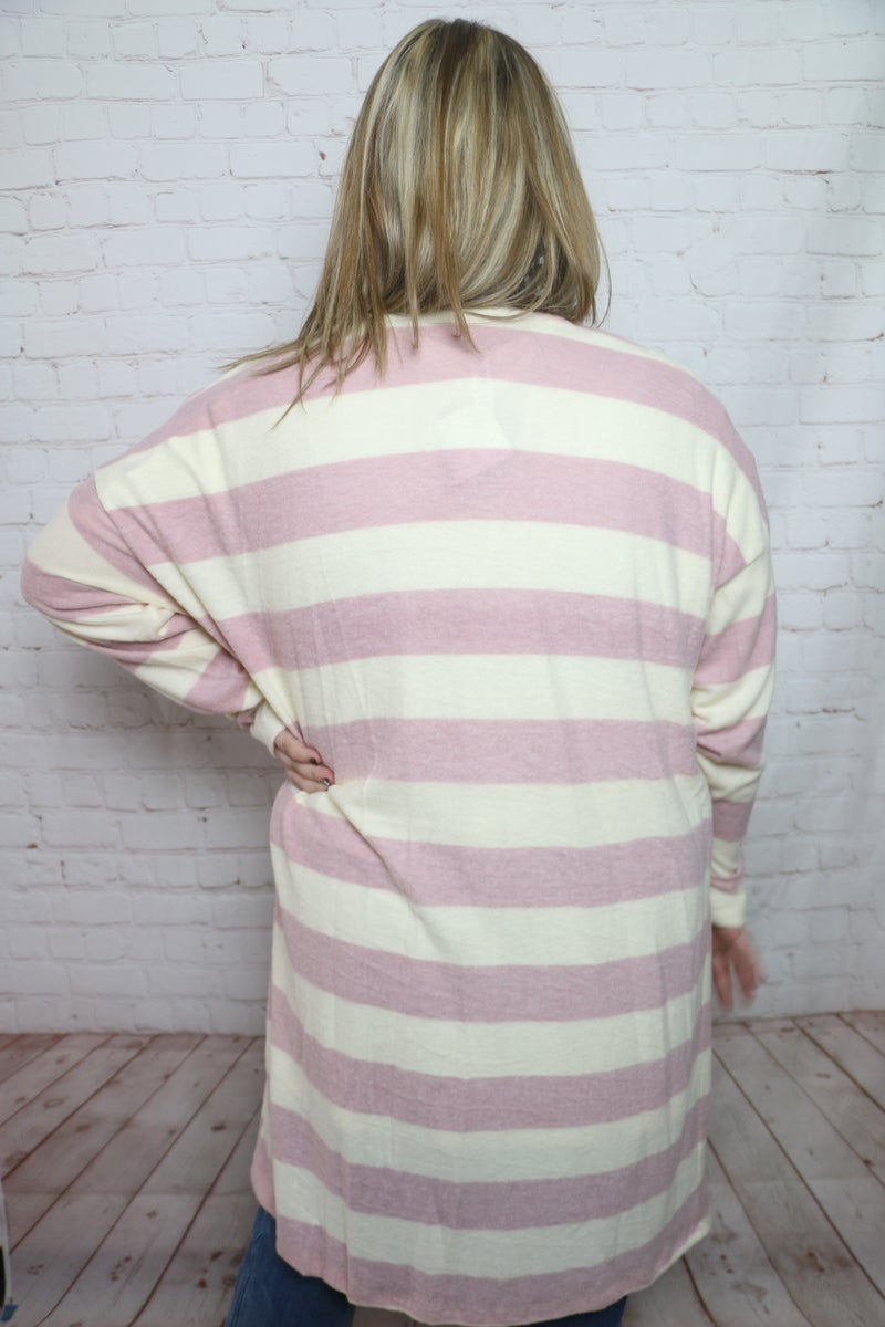 Make Your Move Super Soft Striped Cardigan with Front Pocket in Multiple Colors - Sizes 12-20