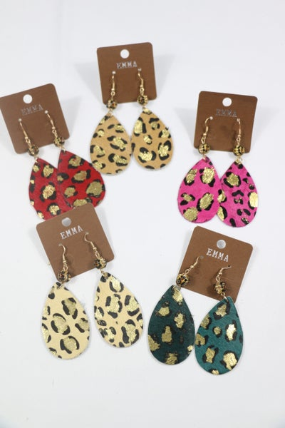 All About You Leather Teardrop Leopard Earring With Leopard Bead Detail In Multiple Colors