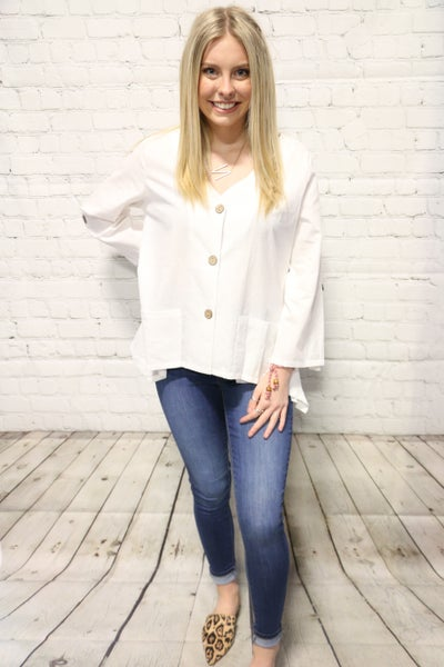Come On Summer Roll Tab Sleeve 3-Button Front Top ~ Sizes 4-18