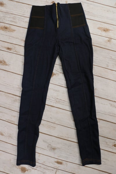 Be Unique Navy Fleece Lined Jegging with Zipper Sizes 4-10