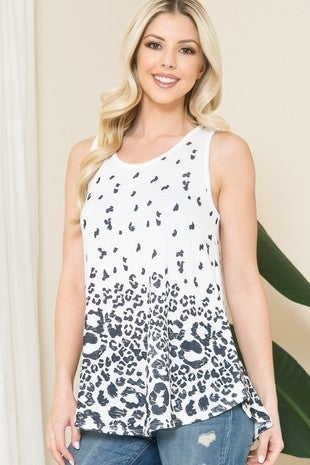 From the Beginning White Tank Top with Black Leopard Print - Sizes 12-20