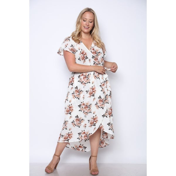 Forever Yours Ivory Floral Splice Wrap Dress - Sizes 12-20