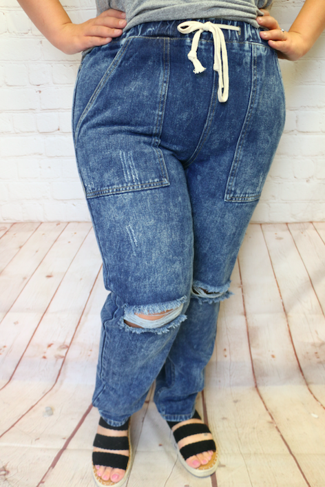 The Libby Distressed Denim Joggers - Sizes 4-20