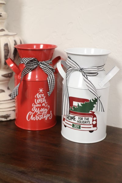 Old Fashioned Milk Can Christmas Decor in Multiple Colors