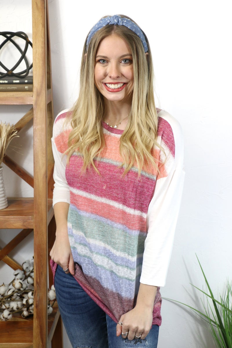 On the Bright Side Striped Three Quarter Sleeve Tunic - Sizes 4-10