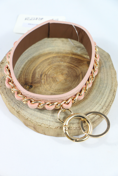Forever More Leather Bangle Bracelet Keychain With Gold Link Braided Trim In Multiple Colors