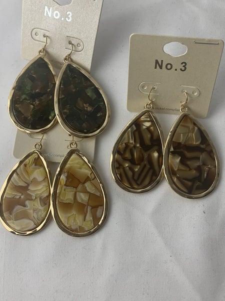 Flattery Teardrop Marble Earring In Multiple Colors