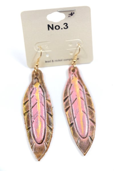 Hold On Brown Leather And Pink Feather Earring