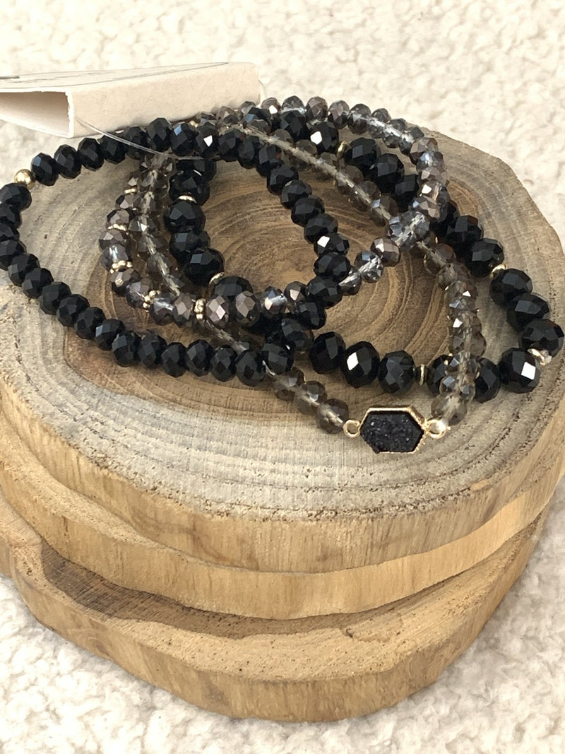 Time's Up 4 Strand Stretch Bracelet With Black Crystals And Druzy Stone