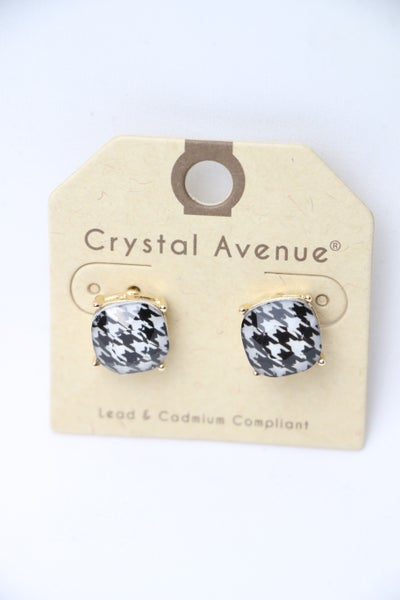 Houndstooth Square Stud Earring