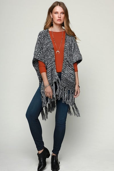 Sweet as Honey Knitted Kimono with Tasseled Hem in Multiple Colors - One Size Fits Most