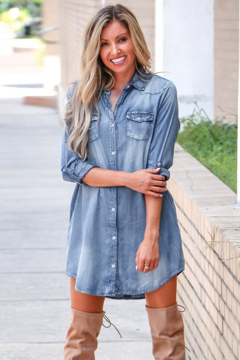 Don't Wanna Know Button Down Medium Wash Denim Dress - Sizes 4-12