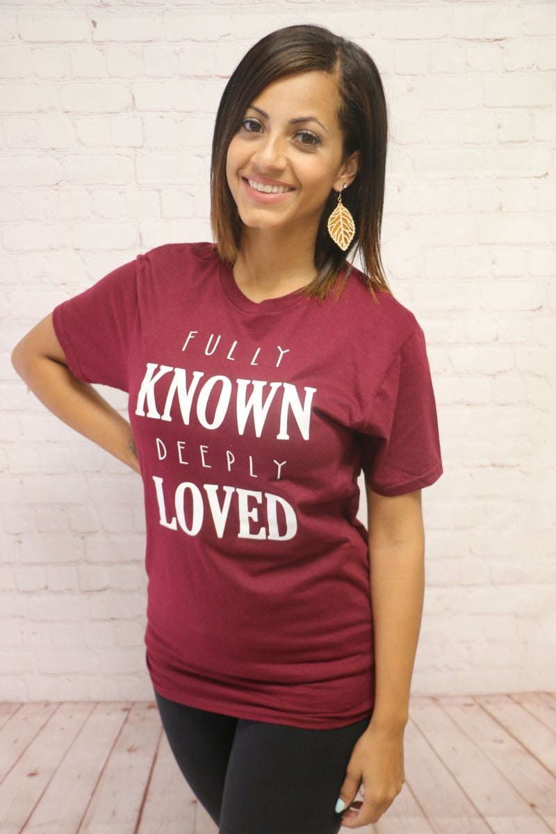 Fully Known, Deeply Loved Burgundy Tee - Sizes 4-18