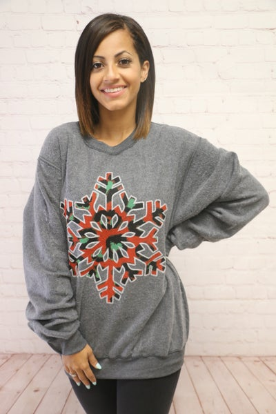 Snowflake Kisses Printed Red Leopard Graphic Sweatshirt - Sizes 4-20