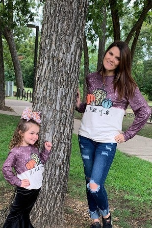 It's Fall Y'all Plum Pumpkin and Splatter Long Sleeve Shirt - Sizes 4-20