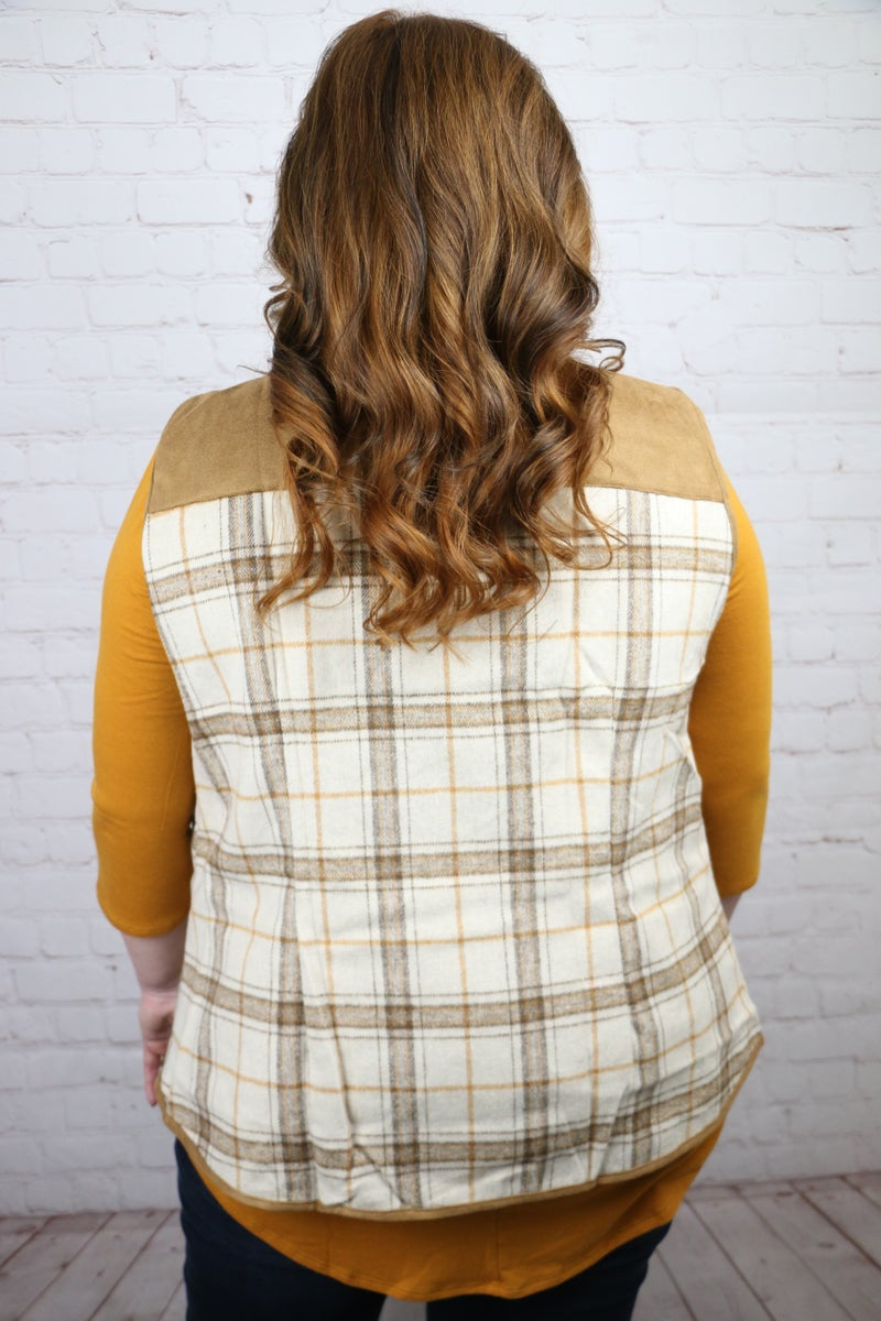 Catch Me Again Tan Plaid Vest With Suede Accents & Pockets- Sizes 4-20