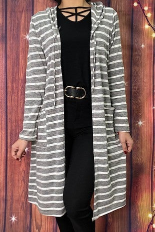 One of Those Days Gray and White Hooded Cardigan - Sizes 4-8