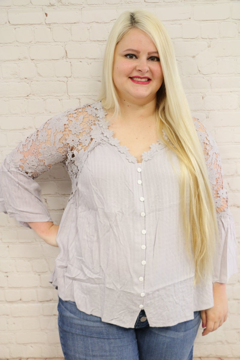Ever So Elegant Crochet Lace Button Top in Multiple Colors - Sizes 4-20