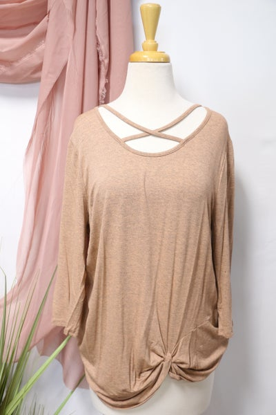 Summer Nights Criss Cross Neck Top With Knotted Hem In Multiple Colors- Sizes 12-20