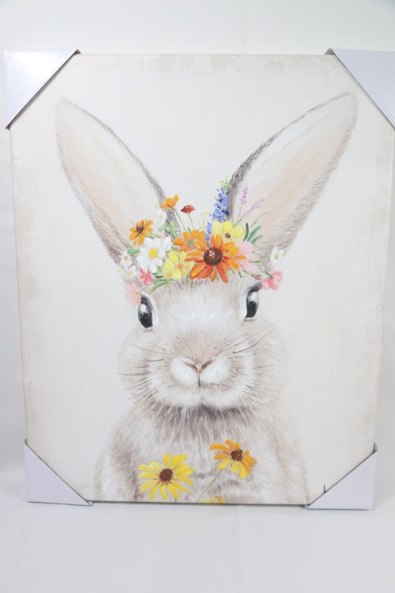Hoppy Bunny with Floral Crown Canvas