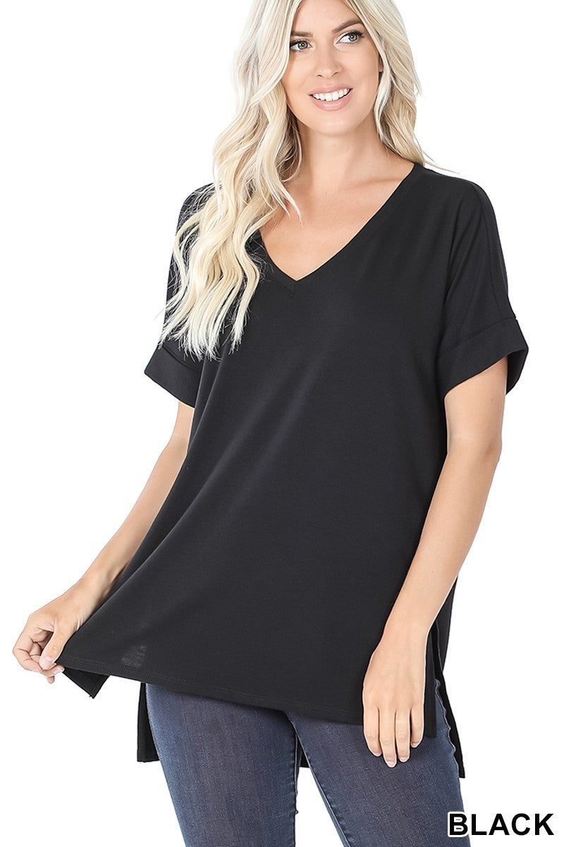 Back to the Start Oversized High Low Top with Rolled Sleeve in Multiple Colors - Sizes 4-20