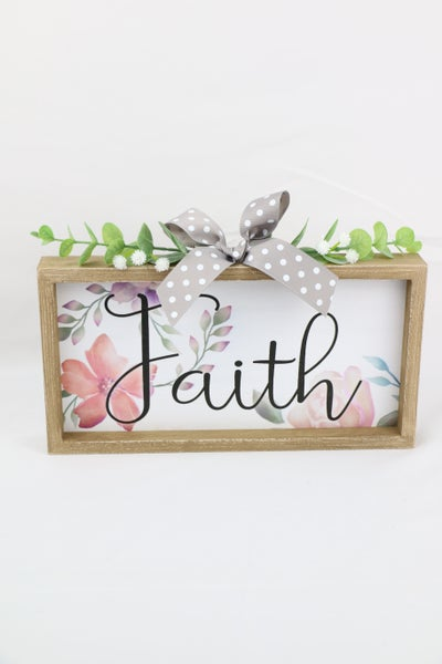 FAITH Floral Wood Box Sign With Greenery And Bow