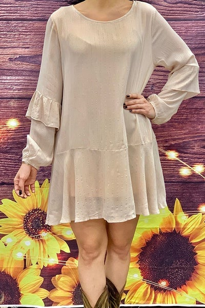 Spring is in the Air Beige with Gold Metallic Accent Thread Long Sleeve Tunic - Sizes 2-18