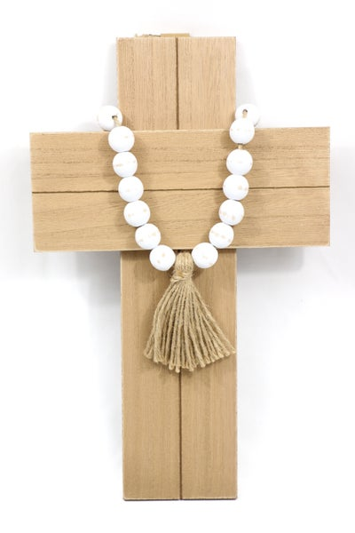 Wooden Cross With Beaded Tassel
