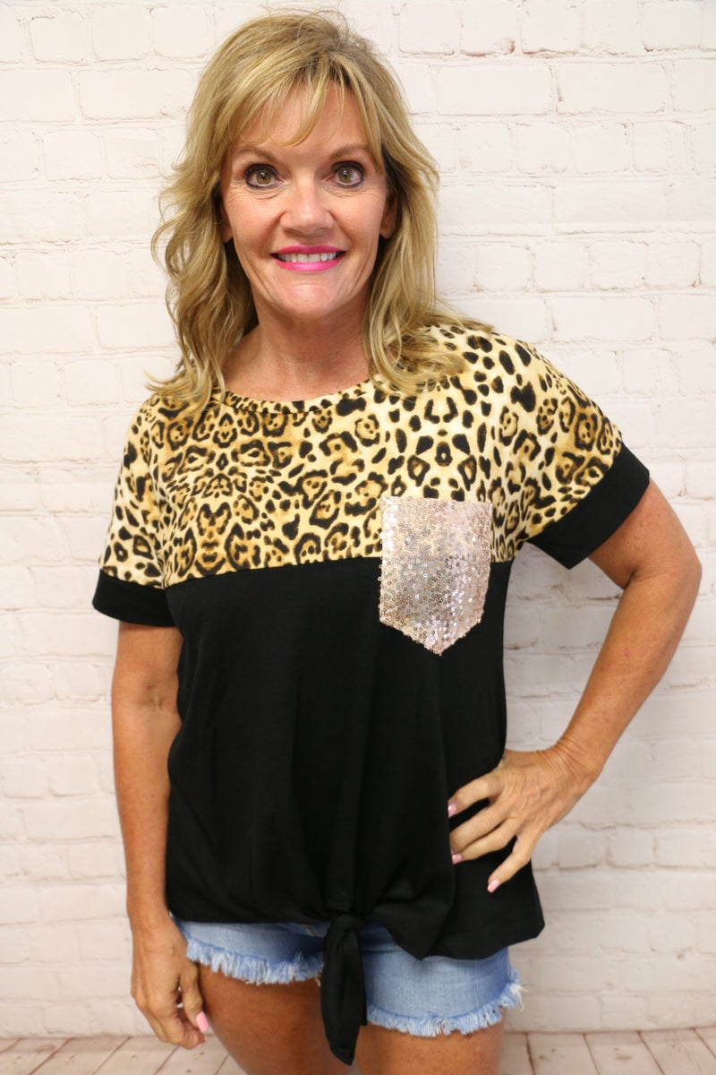 Just the Beginning Leopard and Black Top with Sequin Pocket and Front Tie  - Sizes 4-18