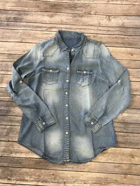It's Nothing Big Button Down Medium Wash Denim Long Sleeve Top with Roll Tab - Sizes