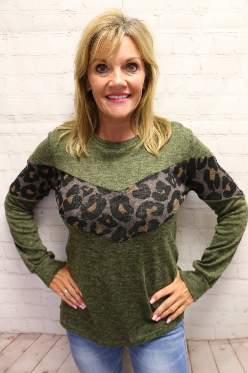 All The Little Things Leopard Accented Two-Toned Top in Multiple Colors - Sizes 4-20