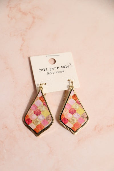 Your Own Way Pink Multi Moroccan Print Earring