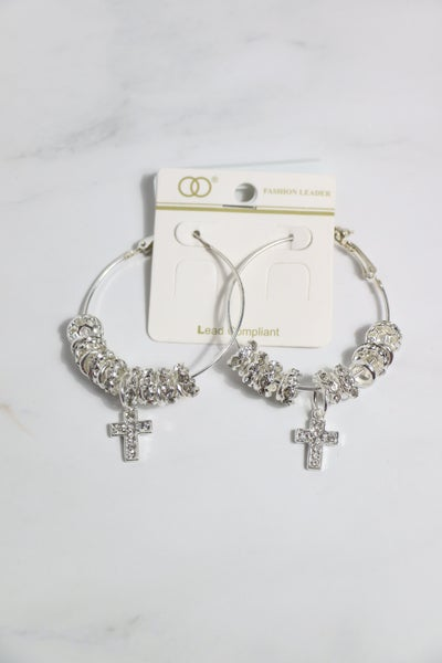 How You Want It Silver Hoop Earring With Silver Beads And Cross Charm