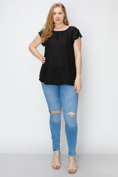 Chasing the Sun Sheer Top with Crochet Detail with Back Split Detail and Ruffled Sleeve in Multiple Colors - Sizes 12-20
