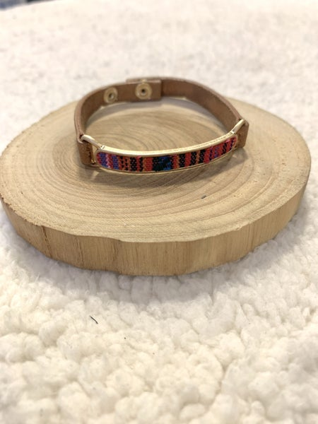 Perfect For You Leather Adjustable Bracelet With Serape Print In Multiple Colors