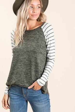 I Got You Heathered Raglan with Striped Accent Sleeve in Multiple Colors - Sizes 4-12